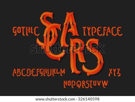 "Gothic ""Scars"" typeface. Vintage beveled burning red font on dark background. - stock vector"