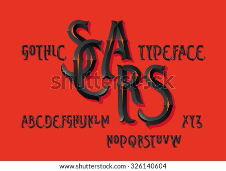 """Gothic """"Scars"""" typeface. Vintage beveled dark font on hot red background. - stock vector"""