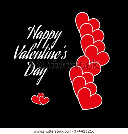 Gothic Valentines Day Card Red Hearts On Black Backdrop With White Text Happy