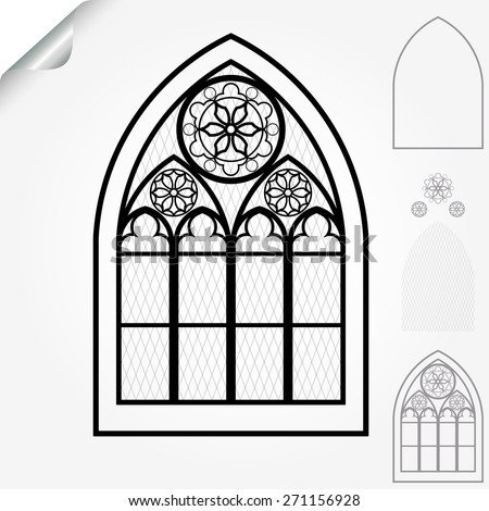 Gothic window of cathedrals, churches, monasteries and medieval castles, roses elements - vector illustration - stock vector