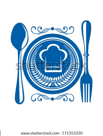 Gourmet food award with a blue plate and cutlery logo decorated with a winners laurel wreath and chefs toque or hat, design illustration - stock vector