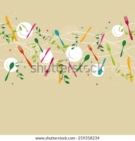 Gourmet food seamless pattern concept illustration with colorful silverware, dish and kitchen elements design. Ideas for restaurant menu, drink card, poster and book cover design. EPS10 vector file. - stock vector