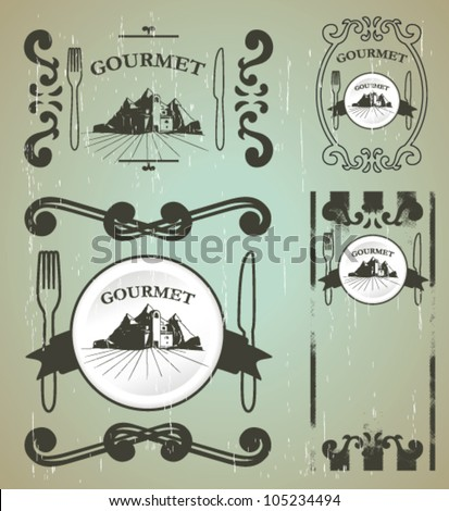 gourmet shields with old style - stock vector