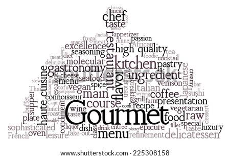 Gourmet Theme Word Cloud - stock vector