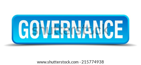 Governance blue 3d realistic square isolated button - stock vector