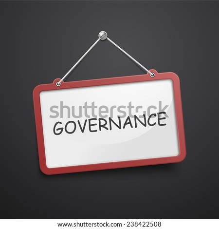 governance hanging sign isolated on black wall  - stock vector