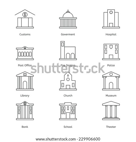 Government building icons set of police museum library theater isolated flat design vector illustration - stock vector