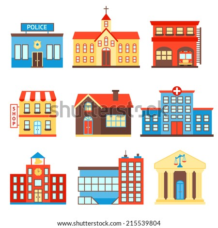 Government building icons set of police shop church isolated vector illustration - stock vector