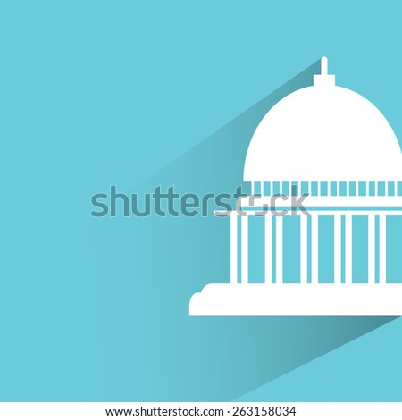 government building on blue background, flat and shadow theme - stock vector