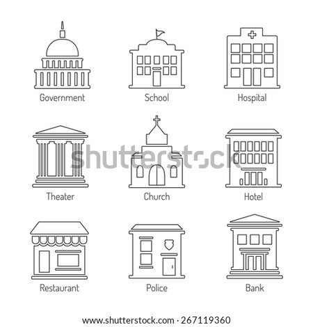 Government building outline icons set - stock vector