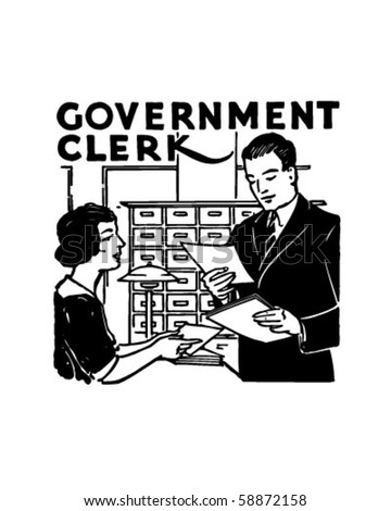 Government Clerk - Retro Clip Art