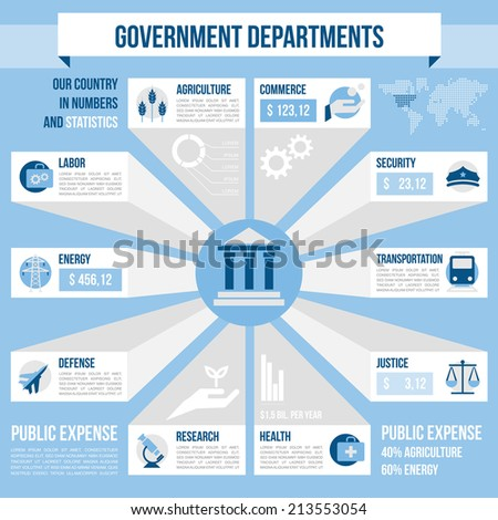 Government departments - stock vector
