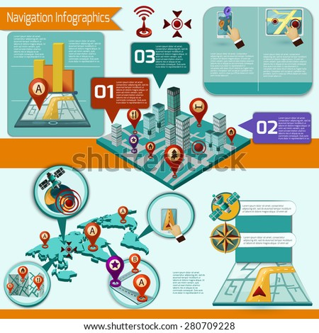 Gps and mobile navigation infographic set with isometric symbols and charts vector illustration - stock vector