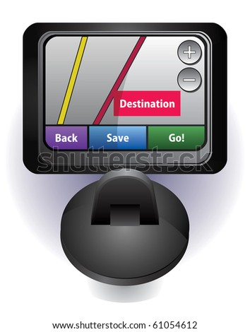GPS car navigation vector illustration with interface - stock vector