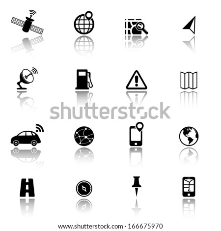GPS, Global Positioning System and Navigation icons - stock vector