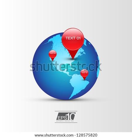 GPS Globe Icon | EPS10 Vector Design - stock vector