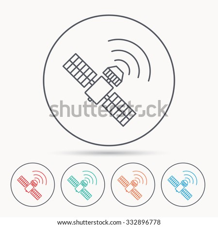GPS icon. Satellite navigation sign. Linear circle icons. - stock vector