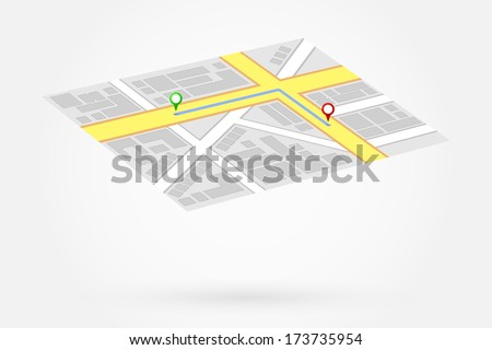 Gps Map Shows Way To Home - stock vector