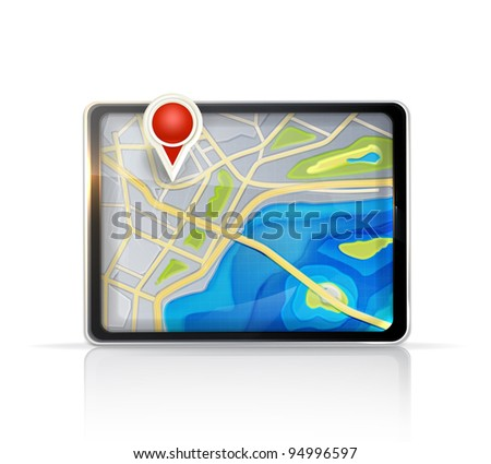 GPS map, vector - stock vector