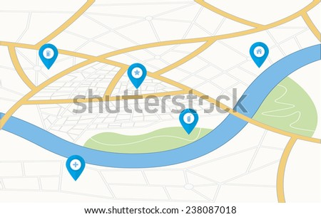GPS Map with pin pointers. Vector illustration  - stock vector