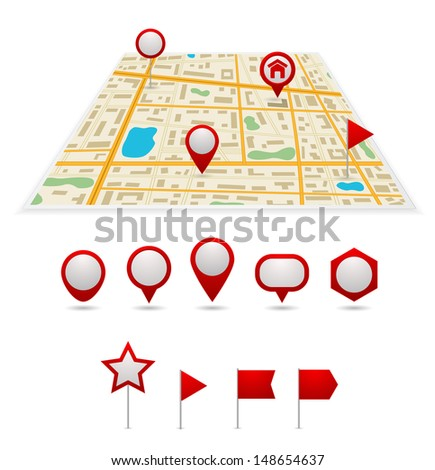gps map with pins set