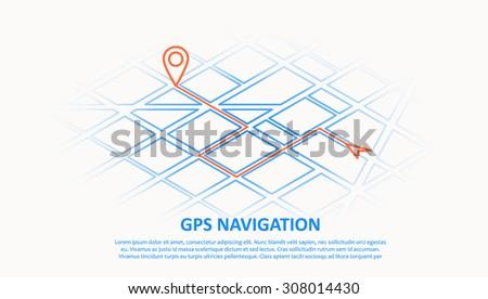 gps navigation - stock vector