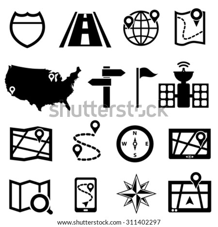 GPS, navigation and road icon set