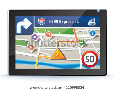 GPS navigation display - stock vector