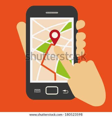 GPS NAVIGATION on Smartphone - stock vector