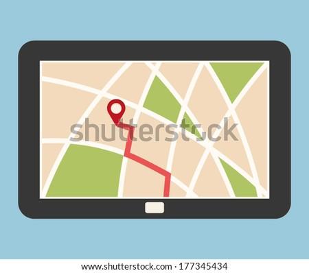 GPS NAVIGATION ON TABLET illustration vector - stock vector