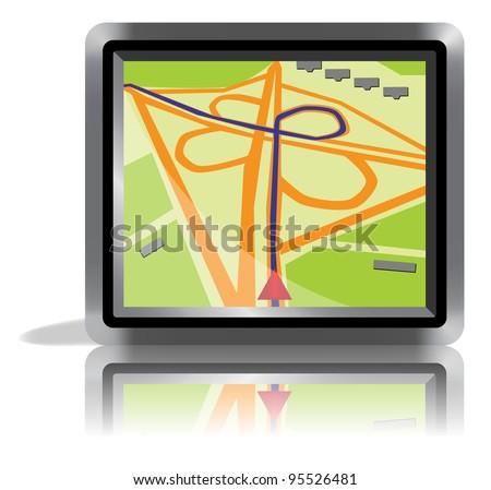 GPS navigation, vector icon. - stock vector