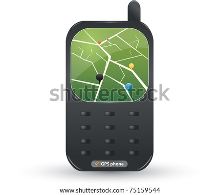 GPS phone - stock vector