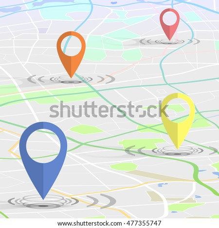 GPS pin checking location on city map. vector illustration