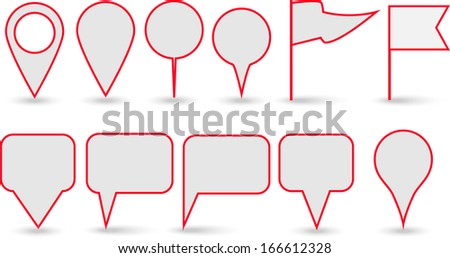 GPS pointers. Locations. Text Baloons. Vector Illustration. - stock vector