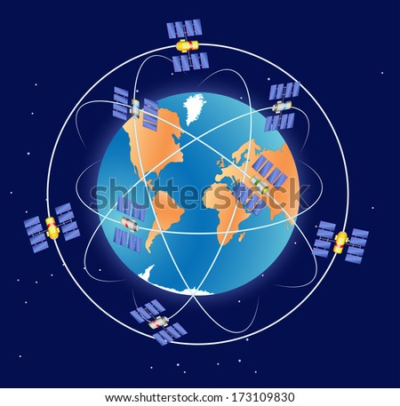 GPS satellite in Earth orbit. Global Positioning System - stock vector