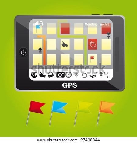 gps with map and pennants website over green background. vector