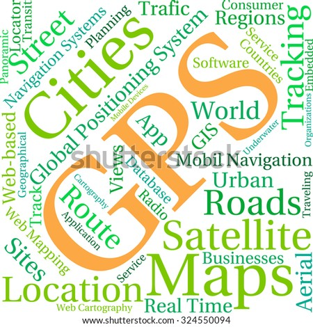 GPS word cloud on a white background.
