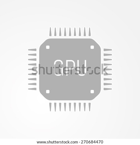 GPU Graphics processing unit icon on gray gradient background - stock vector