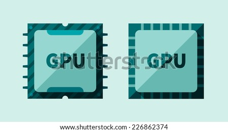 GPU icon computer graphics microchip in flat style - stock vector