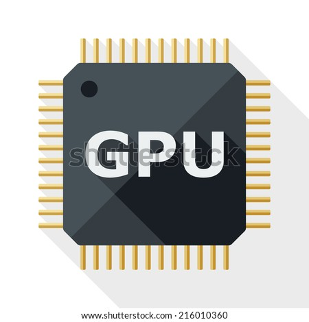 GPU icon with long shadow on white background - stock vector