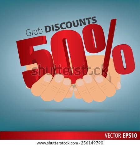 Grab discounts. Hands hold 50 percent discount. vector banner discount of 50 percent. EPS 10 - stock vector
