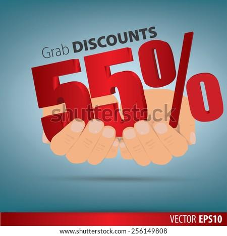 Grab discounts. Hands hold 55 percent discount. vector banner discount of 55 percent. EPS 10 - stock vector