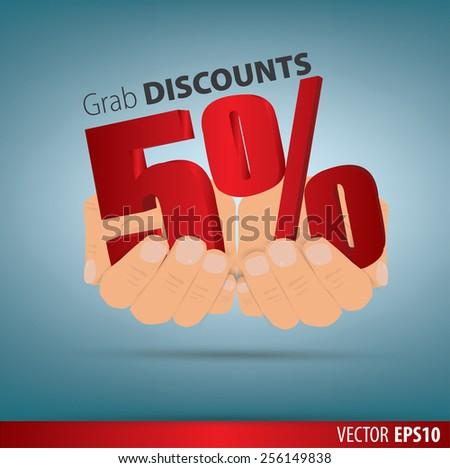 Grab discounts. Hands hold 5 percent discount. vector banner discount of 5  percent. EPS 10 - stock vector