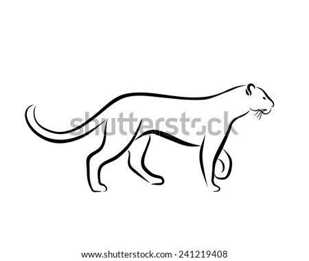 Grace panther ink line art. Black and white illustration with wild animal. Hand drawn sketch. Ink painting. Design element useful for logo. Vector file is EPS8.