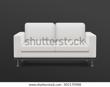 graceful blank sofa isolated on black background - stock vector