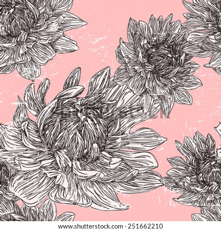 graceful floral seamless pattern over pink background - stock vector