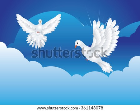 Graceful flying white pigeon, dove in the blue sky. - stock vector