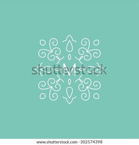 Graceful monogram design template. Elegant line art logo design elements, vector illustration with mint background. It can be change color. - stock vector