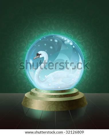 Graceful mute swan (Cygnus olor) seen inside the crystal scrying ball (vector image)