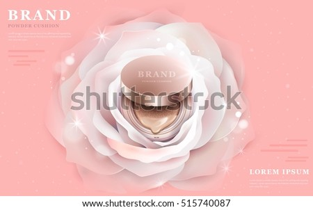 Graceful powder cushion ads, 3d illustration foundation product in the central of a romantic white flower